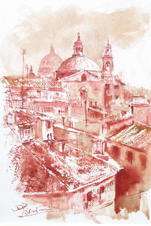 Acquerelli e vinarelli di Giampiero Pierini, tetti di paese