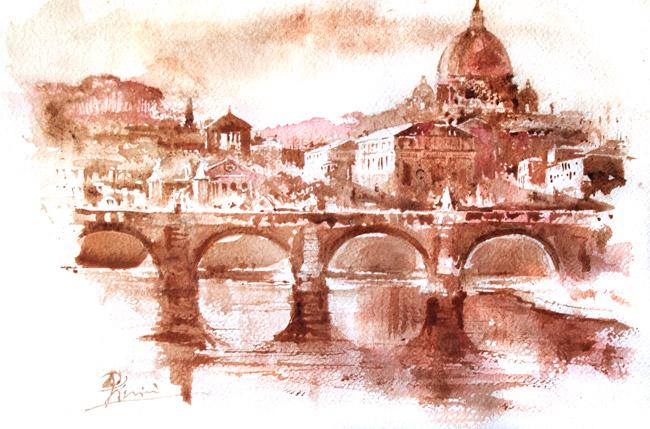 Acquerelli e vinarelli di Giampiero Pierini, veduta di un ponte sul fiume