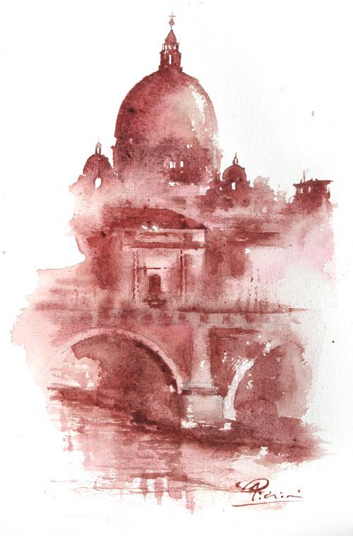 Acquerelli e vinarelli di Giampiero Pierini, cupola e ponte sul fiume