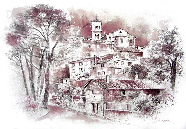 Acquerelli e vinarelli di Giampiero Pierini, panorama di Sutri, composizione vino e matita