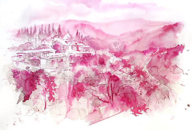 Acquerelli e vinarelli di Giampiero Pierini, un paesaggio laziale