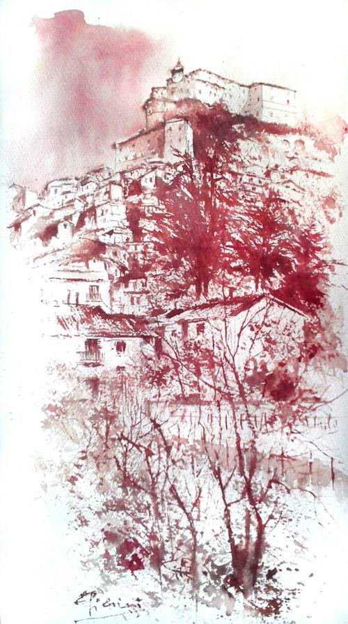Acquerelli e vinarelli di Giampiero Pierini, veduta ai piedi di un paese