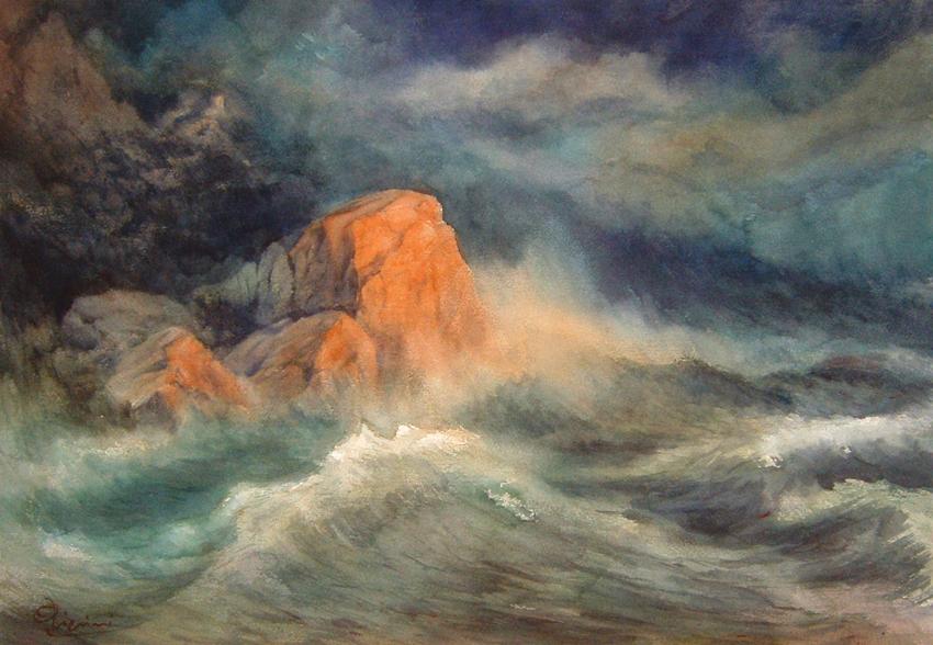 I paesaggi degli acquerelli di Giampiero Pierini, Ultimo bacio del sole