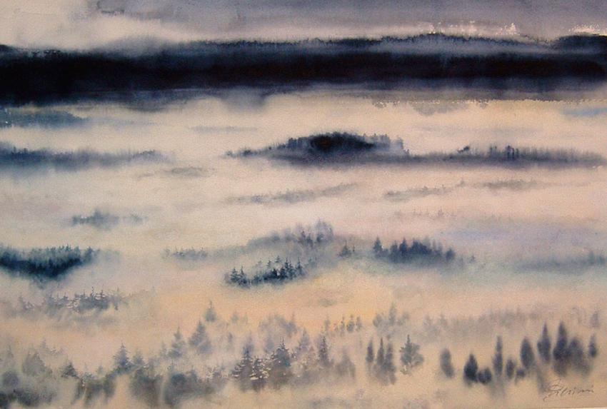 I paesaggi degli acquerelli di Giampiero Pierini, Oltre le nebbie