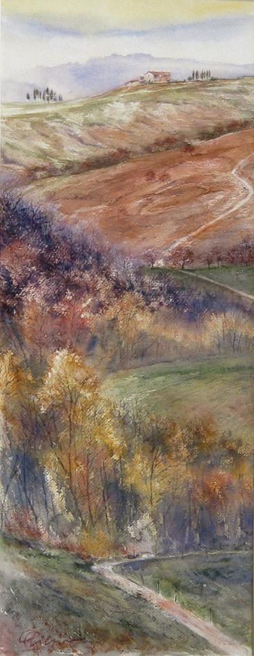 I paesaggi degli acquerelli di Giampiero Pierini, Terre di Siena