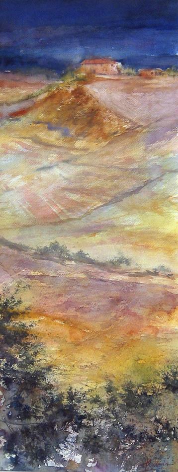 I paesaggi degli acquerelli di Giampiero Pierini, Terre di Siena e i loro colori