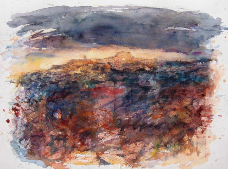 I paesaggi degli acquerelli di Giampiero Pierini, A est di Paliano le antiche fortezze