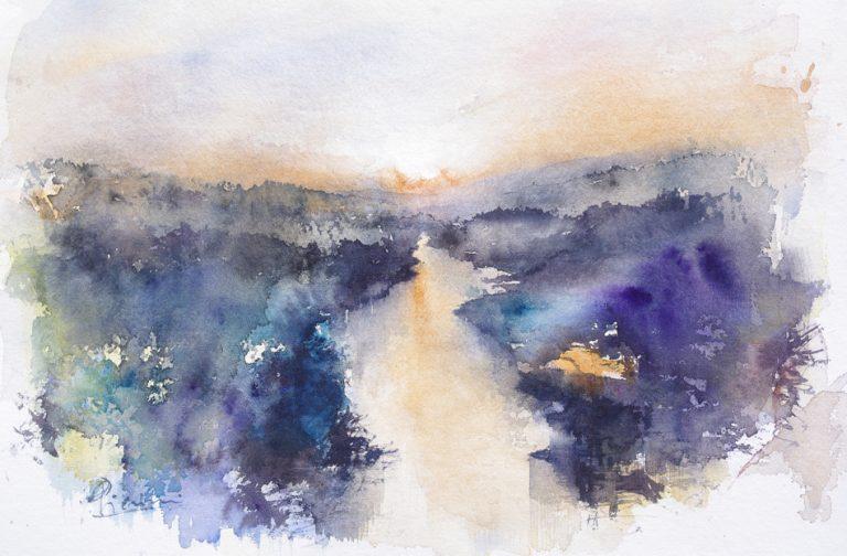 I paesaggi degli acquerelli di Giampiero Pierini, Il fiume di sera