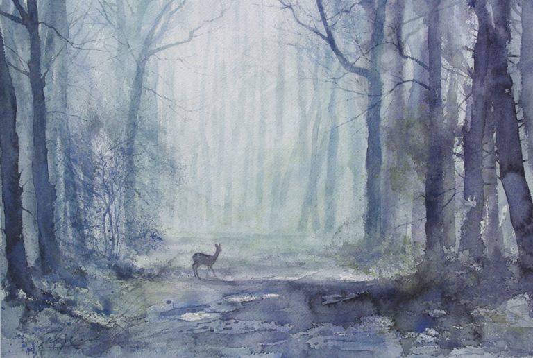 I paesaggi degli acquerelli di Giampiero Pierini, Il primo mattino nel bosco