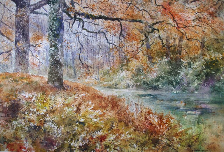 I paesaggi degli acquerelli di Giampiero Pierini, Il bosco e il passaggio del fiume