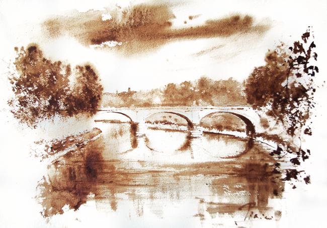 Acquerelli e vinarelli di Giampiero Pierini, ponte sul fiume