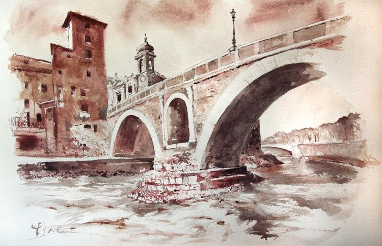 Acquerelli e vinarelli di Giampiero Pierini, prospettiva del ponte dal fiume