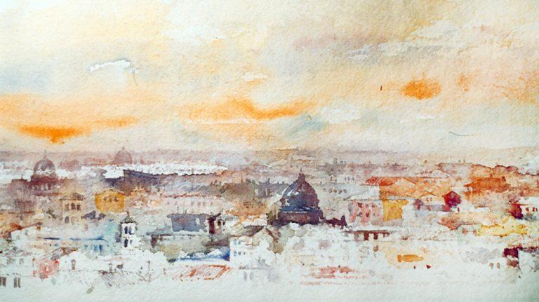 Roma e la campagna romana degli acquerelli di Giampiero Pierini, profilo romano