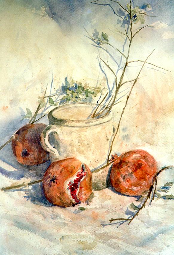 Le composizioni degli acquerelli di Giampiero Pierini, Il coccio e i melograni