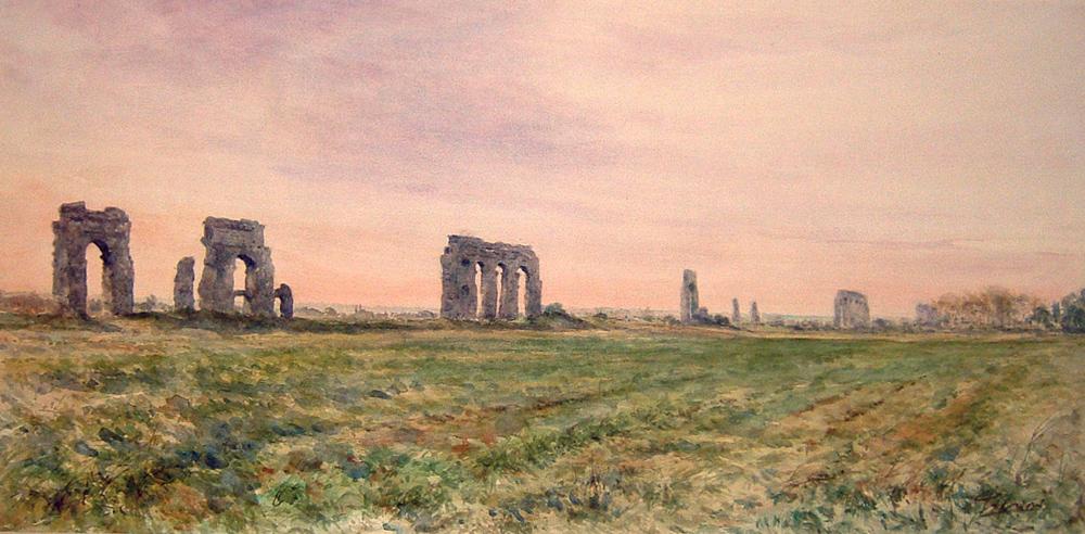 Roma e la campagna romana degli acquerelli di Giampiero Pierini, campagna romana e acquedotto