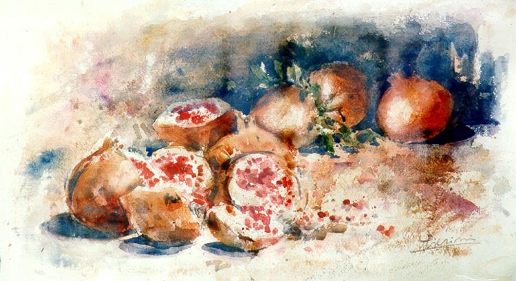 Le composizioni degli acquerelli di Giampiero Pierini, Melograne