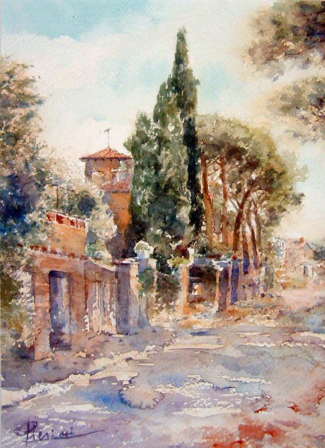 Roma e la campagna romana degli acquerelli di Giampiero Pierini, scorcio di Quarto Miglio