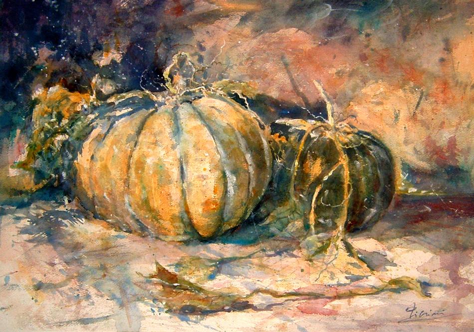 Le composizioni degli acquerelli di Giampiero Pierini, Due zucche