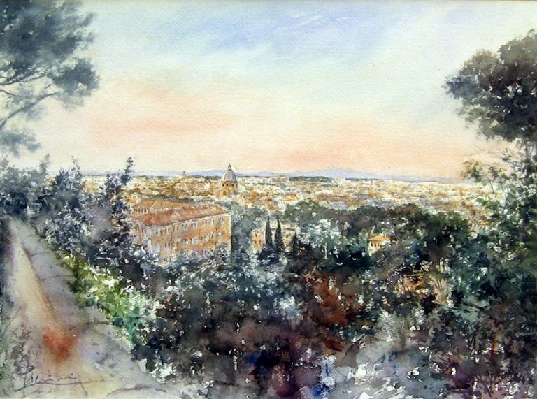 Roma e la campagna romana degli acquerelli di Giampiero Pierini, Roma dal Gianicolo