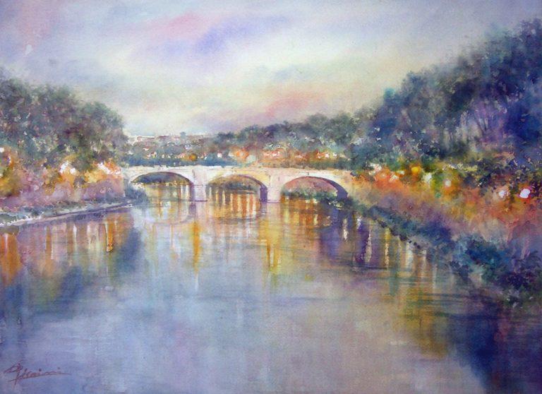 Roma e la campagna romana degli acquerelli di Giampiero Pierini, si accendono le luci in città