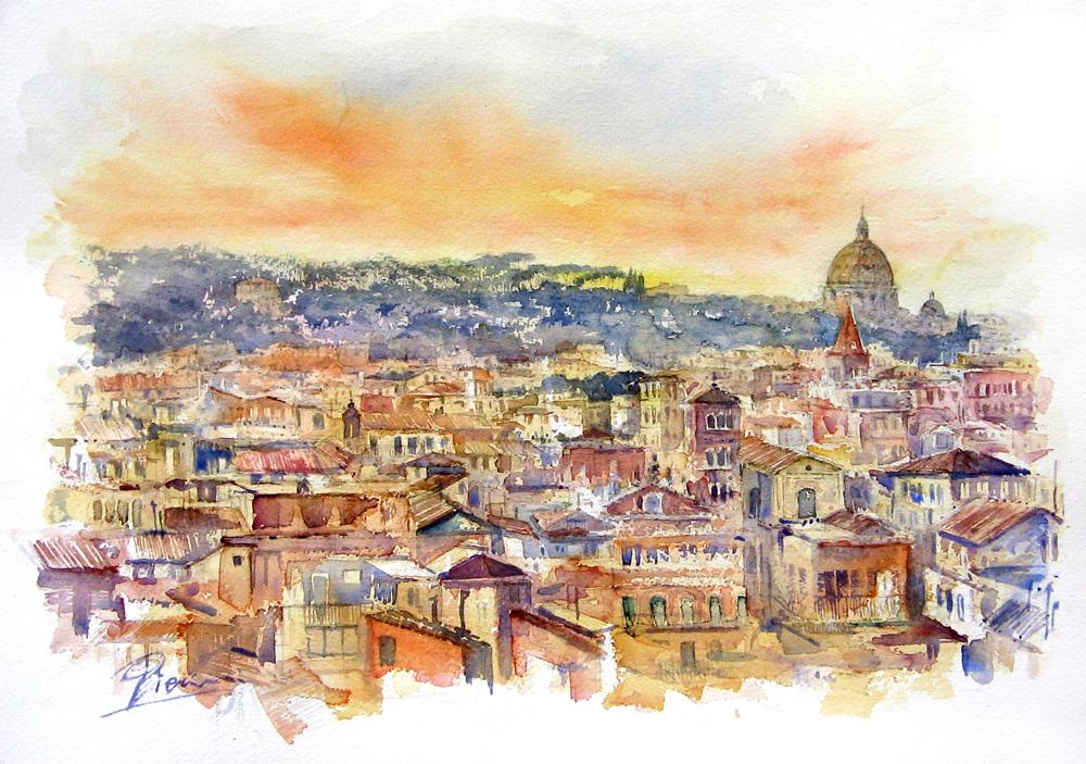 Roma e la campagna romana degli acquerelli di Giampiero Pierini, Roma dall'Aventino