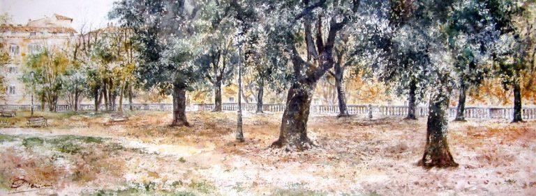 Roma e la campagna romana degli acquerelli di Giampiero Pierini, i giardini del Quirinale