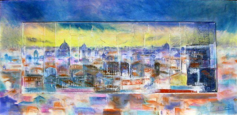 Roma e la campagna romana degli acquerelli di Giampiero Pierini, luce del crepuscolo