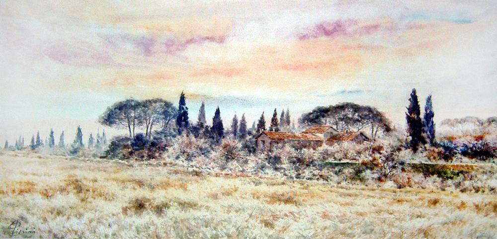 Roma e la campagna romana degli acquerelli di Giampiero Pierini, casale in campagna
