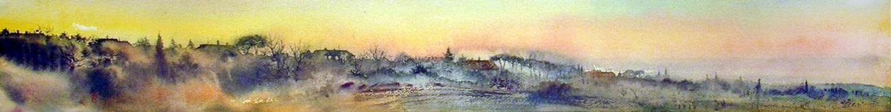 Roma e la campagna romana degli acquerelli di Giampiero Pierini, campagna romana al tramonto