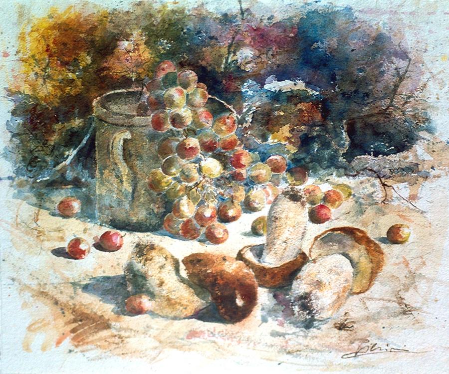 Le composizioni degli acquerelli di Giampiero Pierini, Funghi e uva