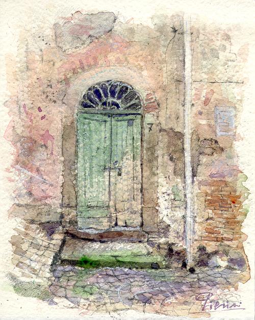 Altre opere e soggetti degli acquerelli di Giampiero Pierini, una porta di paese