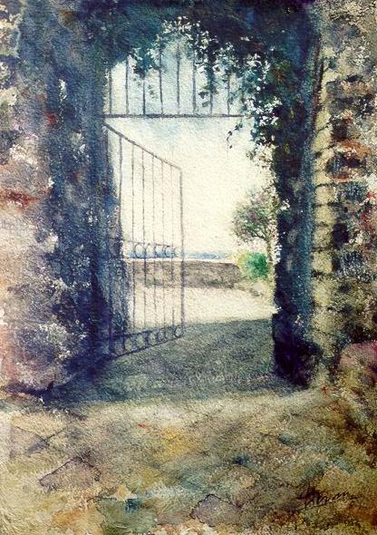 Altre opere e soggetti degli acquerelli di Giampiero Pierini, cancello mediterraneo