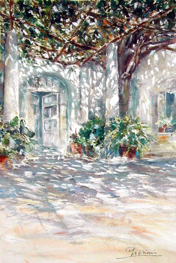 Altre opere e soggetti degli acquerelli di Giampiero Pierini, porticato all'ombra