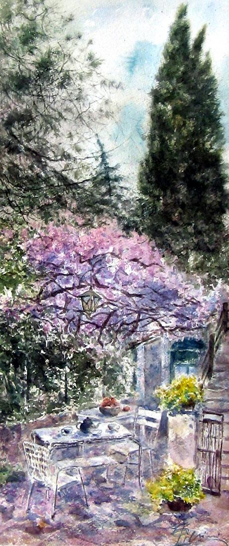 Altre opere e soggetti degli acquerelli di Giampiero Pierini, pergola d'aprile