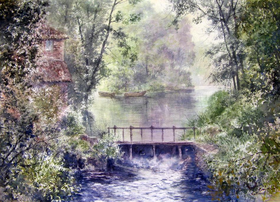 Altre opere e soggetti degli acquerelli di Giampiero Pierini, la piccola chiusa tra gli alberi