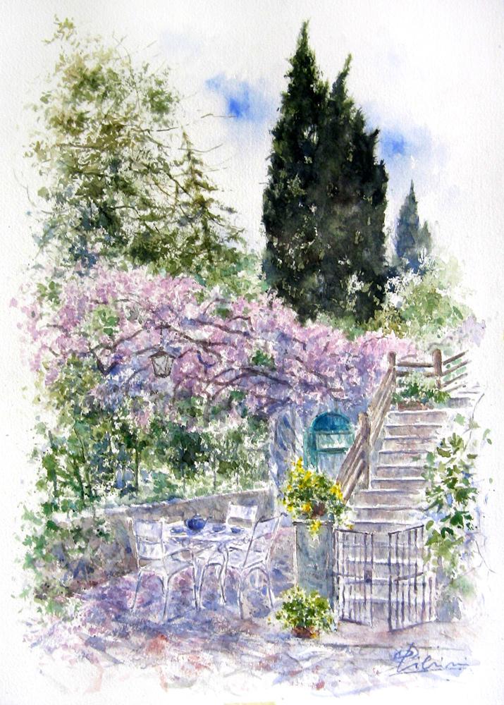 Altre opere e soggetti degli acquerelli di Giampiero Pierini, pergola d'aprile sotto i fiori