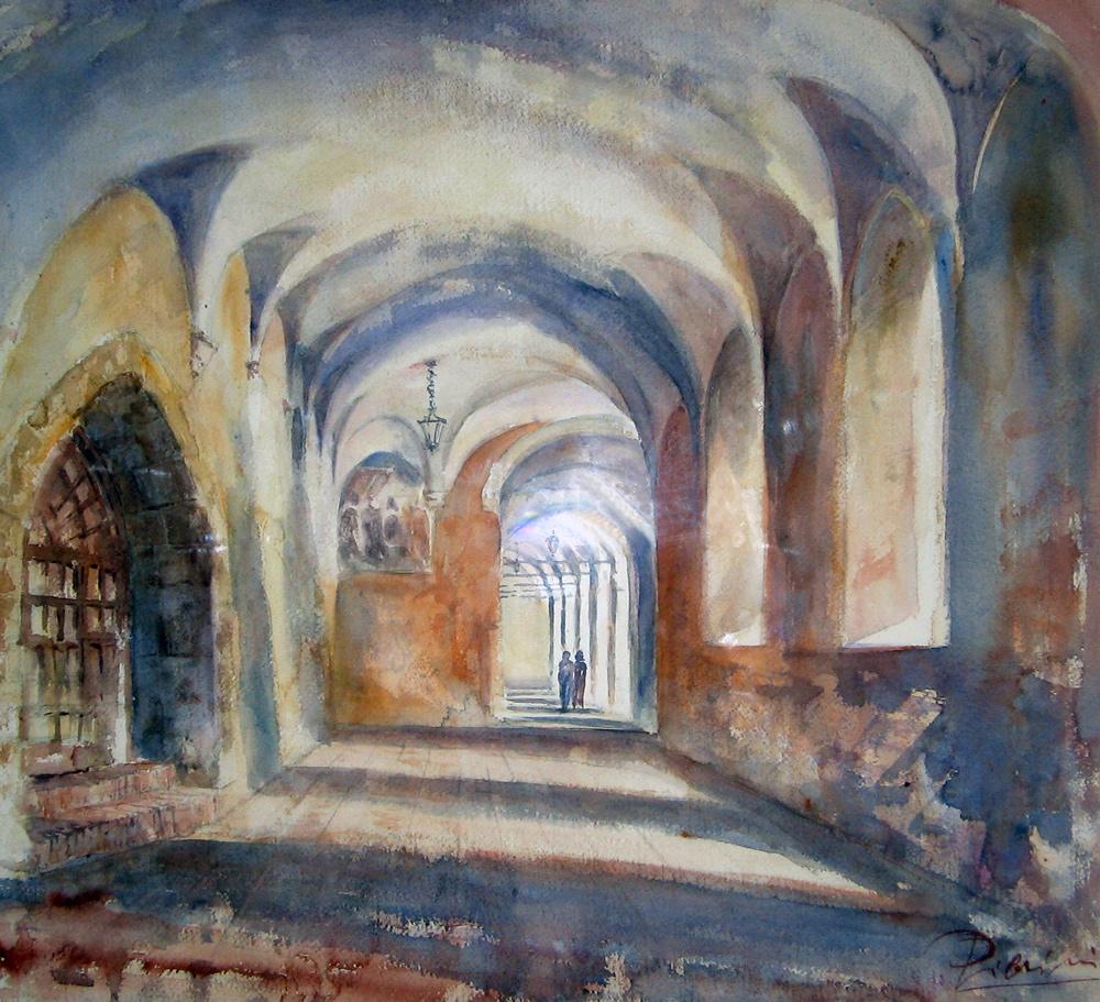 Altre opere e soggetti degli acquerelli di Giampiero Pierini, interno del monastero di Santa Scolastica
