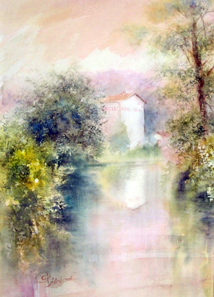 Altre opere e soggetti degli acquerelli di Giampiero Pierini, mobel grell, specchio sull'acqua
