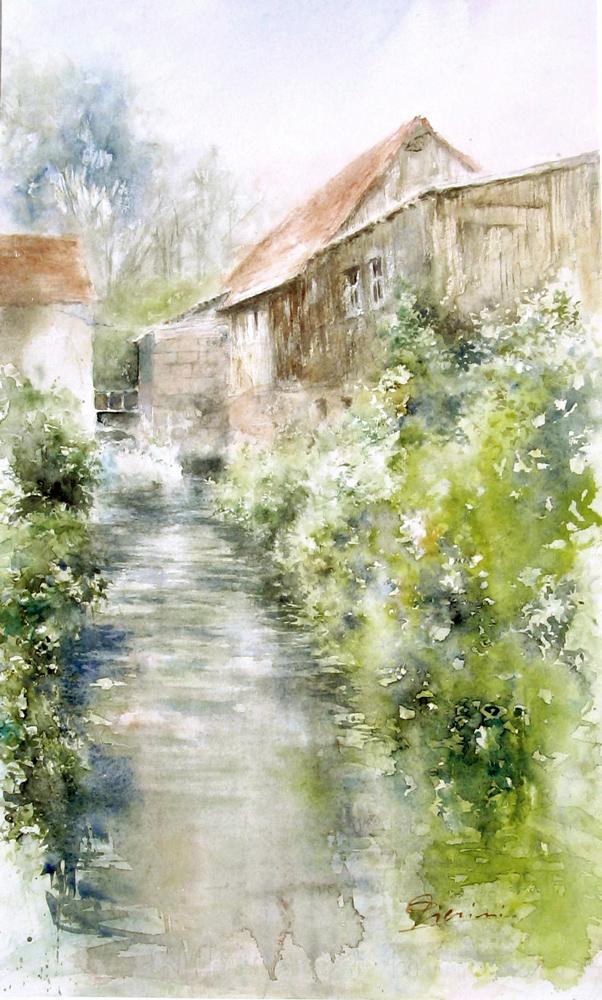 Altre opere e soggetti degli acquerelli di Giampiero Pierini, la vecchia falegnameria di Fisherback