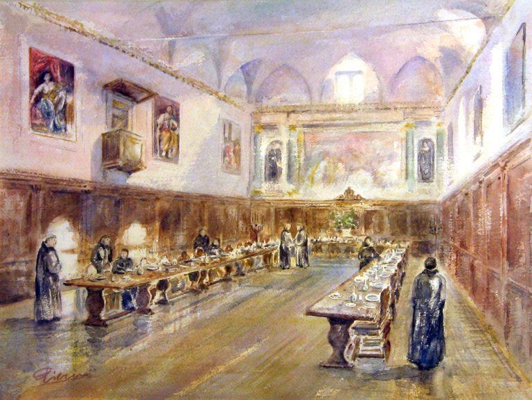 Altre opere e soggetti degli acquerelli di Giampiero Pierini, il refettorio di Santa Scolastica