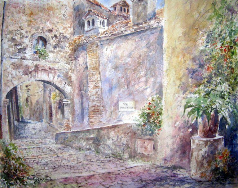 Altre opere e soggetti degli acquerelli di Giampiero Pierini, vicolo di Anticoli Corrado