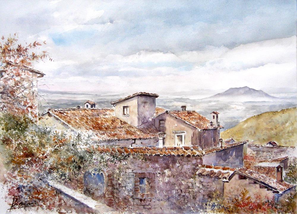 Altre opere e soggetti degli acquerelli di Giampiero Pierini, autunno a Fara Sabina