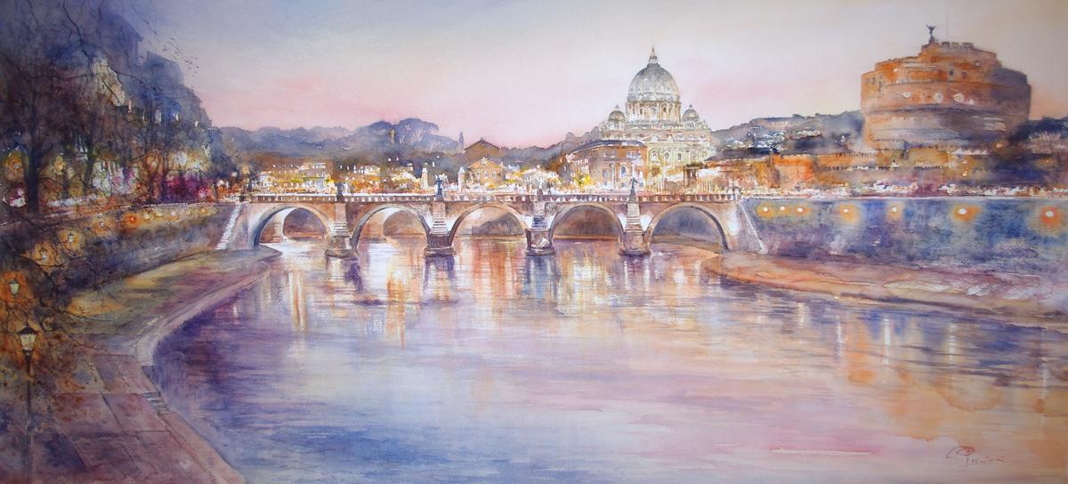 Roma e la campagna romana degli acquerelli di Giampiero Pierini, veduta di castel Sant'Angelo