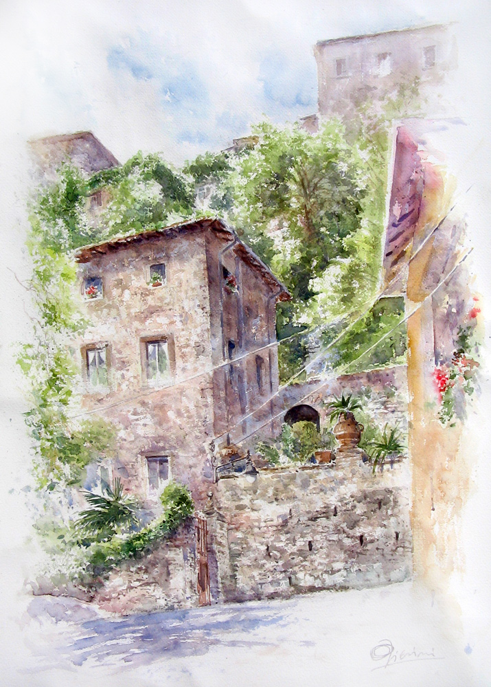 Altre opere e soggetti degli acquerelli di Giampiero Pierini, casa di Valerio Borghese ad Artena