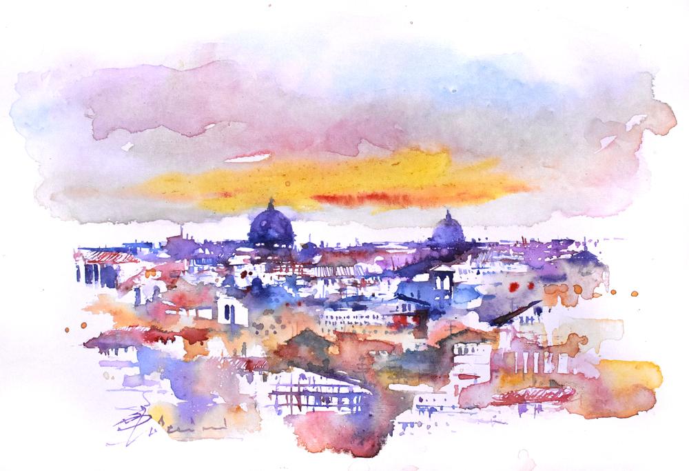 Roma e la campagna romana degli acquerelli di Giampiero Pierini, colori romani