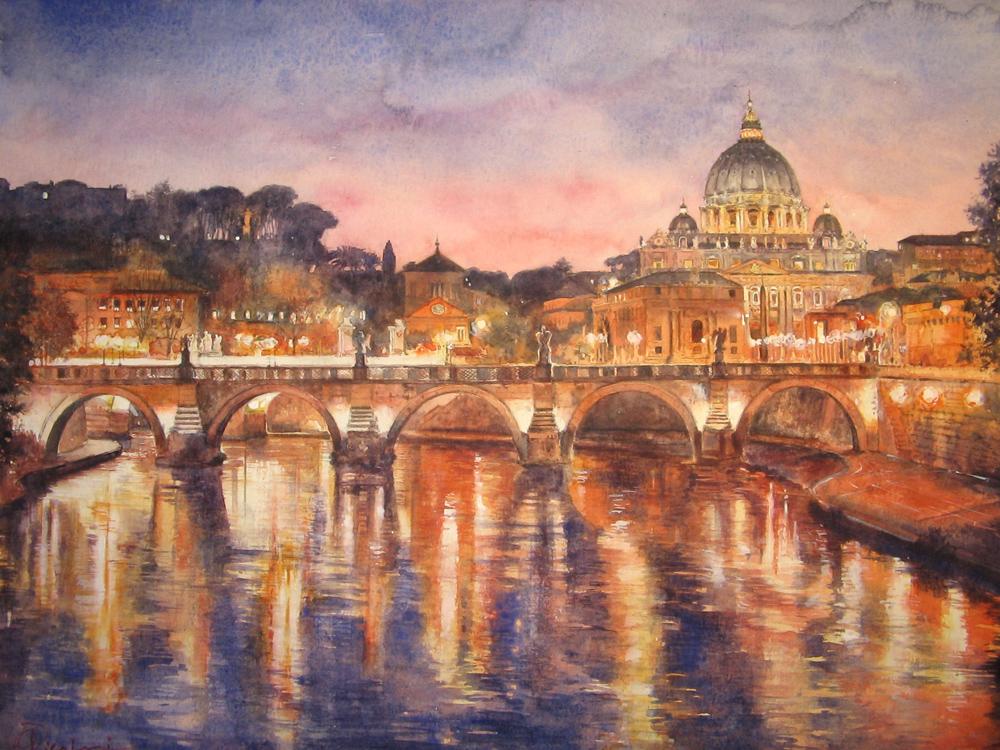 Roma e la campagna romana degli acquerelli di Giampiero Pierini, notte di Roma