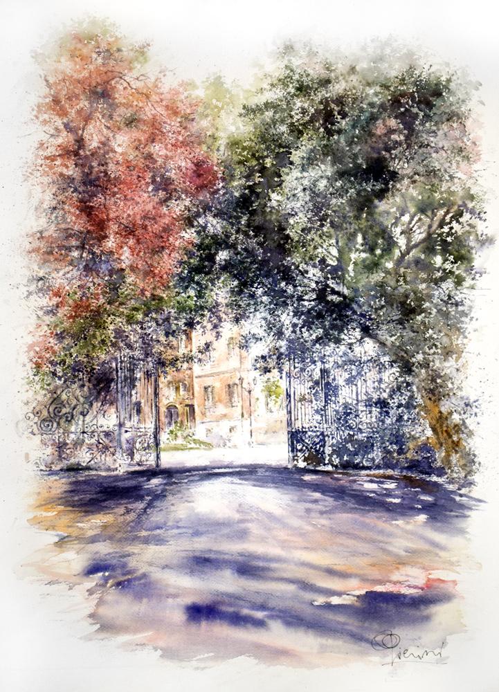 Altre opere e soggetti degli acquerelli di Giampiero Pierini, i giardini di Villa Chigi ad Albano