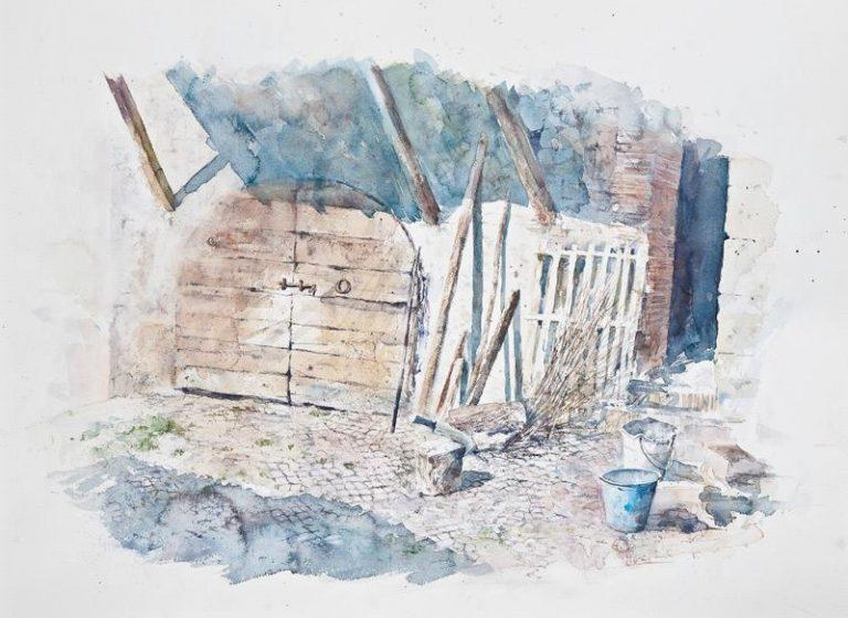 Altre opere e soggetti degli acquerelli di Giampiero Pierini, ombre nell'aia