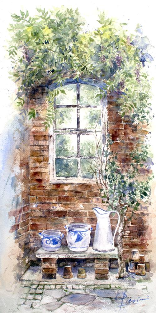 Altre opere e soggetti degli acquerelli di Giampiero Pierini, particolare di finestra con vasi di terracotta