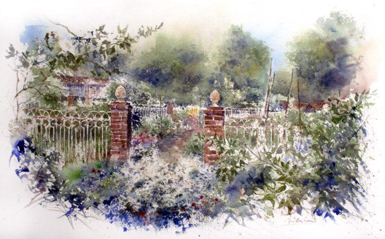 Altre opere e soggetti degli acquerelli di Giampiero Pierini, un cancello nel verde